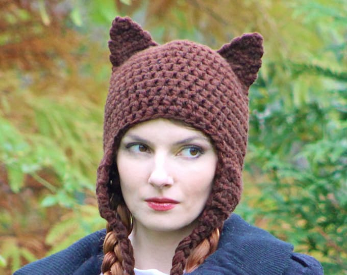 Can't Grab This Pussy! Brown Kitten Ears Handmade Crochet Ear Flap Hat Women's March on Washington Gift for HIM or HER, Girls or Boys