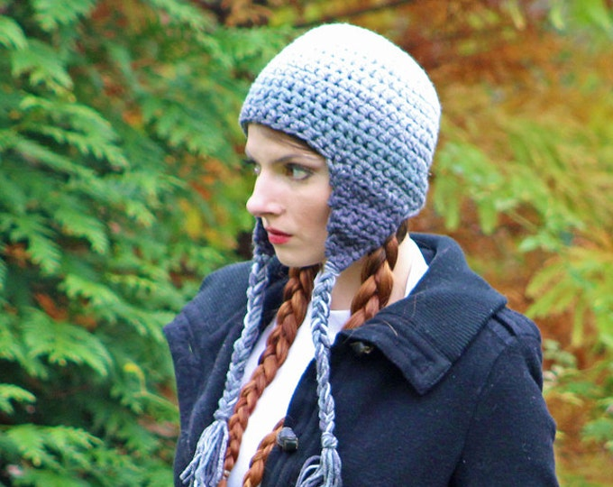 Gray Ombre  Ear Flap Hat White to Grey Fade  Perfect Winter Gift for Men Or Women Ready to Ship