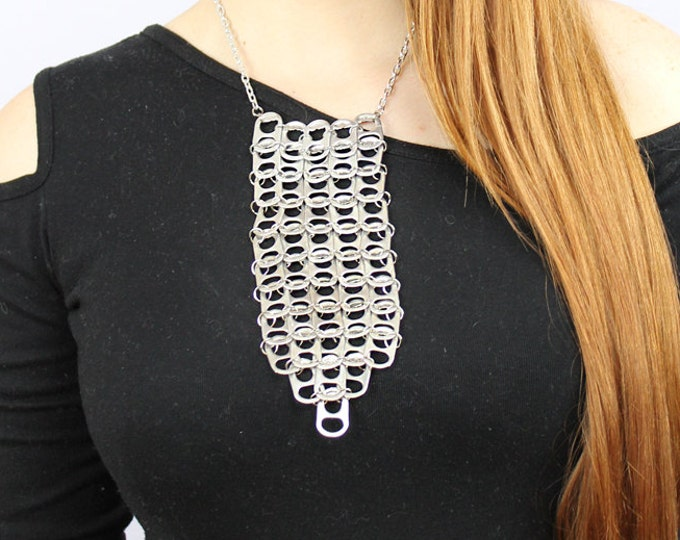 Silver Pop Tab Pendant Bib Style Necklace