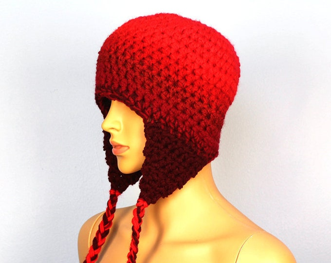 Red Ombre Fade Ear Flap Hat One of a kind Color Gradient Handmade Crochet Gift