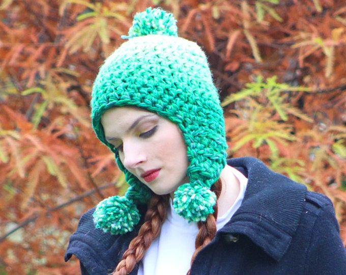 Green OmbrePixie Elven Earflap Hat Pom Pom Beanie Hat Crochet Handmade Gift for Him or Her