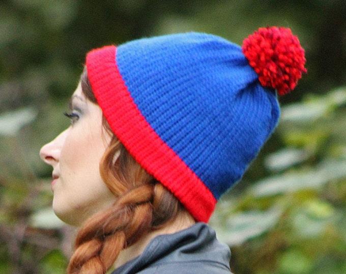 Stan Marsh Hat Blue and Red Pom Pom  Handmade Knit  Cap Costume ready to ship  Cartoon Beanie  Boyfriend  Husband Girlfriend Gift