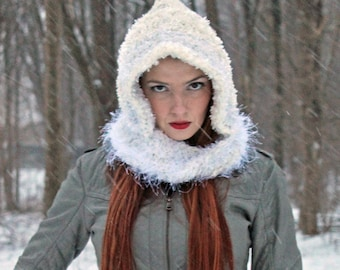 Hooded Scarf White Mobius  Handmade Christmas Gift Ready to ship