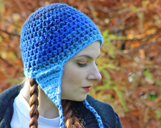Blue Ear Flap Hat Blue Gradient Hat Great Gift for Children Teens or Adults Men and Women