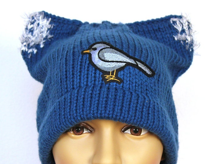 Birdy Sanders Pussy Hat Cat Kitten Hat Ear Slouchy Cap Women's Rights March on Washington. Protest Resist Ready to Ship Trump Impeachment