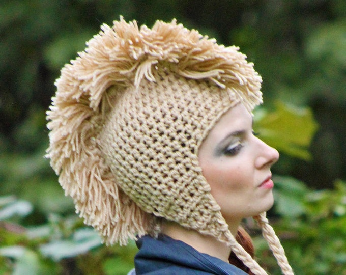 Tan Mohawk  Ear Flap Hat Unique Handmade Gift For Men or Women Boys or Girls