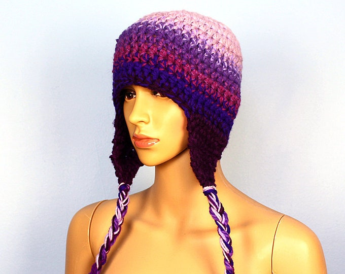 Purple Fade Ombre Ear Flap Hat Color Gradient One of a Kind Crochet Gift