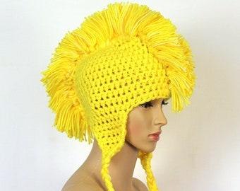 Handmade Yellow MoHawk EarFlap Hat Handmade Trapper Cap One of a kind Boyfriend Gift
