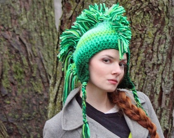 Green Ombre Fade Mohawk Earflap Hat Color Gradient Fade Christmas Gift for Men , Women, Children or Teens