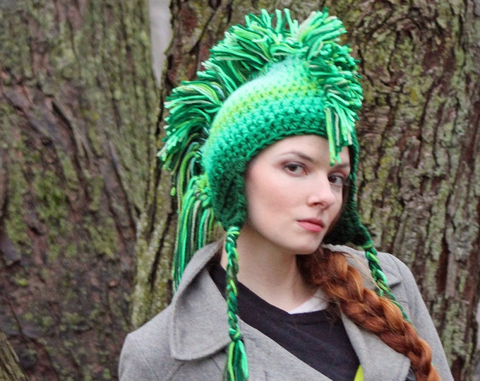 Green Ombre Fade Mohawk Earflap Hat Color Gradient Fade Christmas Gift for Men , Women, Children or Teens