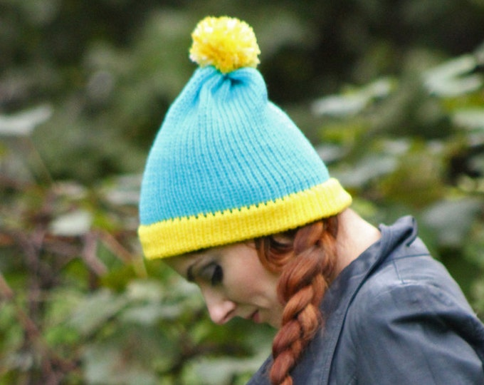 Cartman Hat Teal and Yellow Pom Pom ready to ship Cartoon Boyfriend Gift
