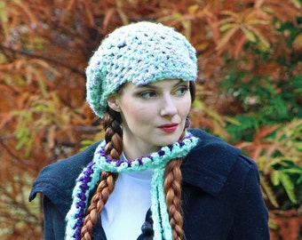 Beanie Hat and Scarf  Set Mint Green and Purple NewsboyFuzzy Soft Billed Rasta Tam Hat Long Soft Accesory  Gift for Girls, Teens or Women