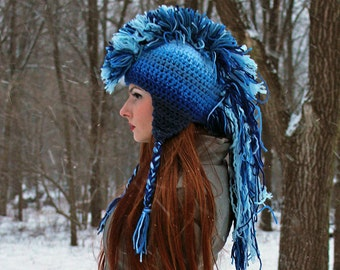Blue Ombre Mohawk Hat Extreme Style boyfriend gift Warm Winter Trapper Girlfriend Present