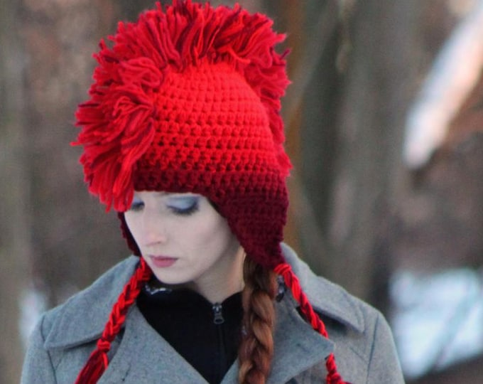 Red Fade Ombre Mohawk EarFlap Hat