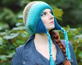 Mermaid Colors Hat Teal Blue Beige Tan Fade Ombre Ear Flap Hat Winter Slouchy Beanie Perfect Gift for Him Or Her