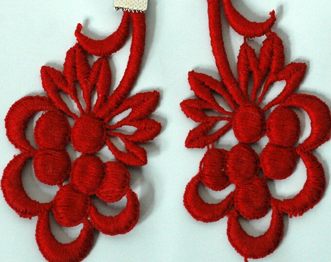 Red Lace Fabric Earrings Big Jewelry Ready to Ship Gift