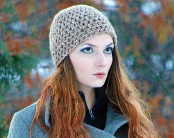 Beanie Hat Cap Brown and Tan Tones for Him or Her Handmade Christmas Gift Ready to ship