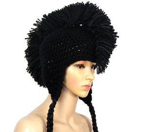Black Mohawk Ear Flap Hat Handmade Accessory Crochet One of a Kind Gift