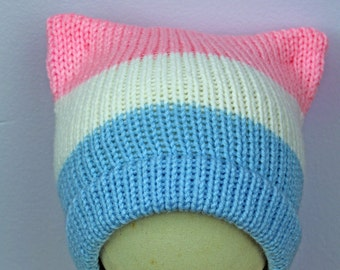 Trans Pride Beanie ! Pussy Cat Kitten Hat Pink Ear Hat Humans Rights Pride Protest Trump #Metoo Women's March