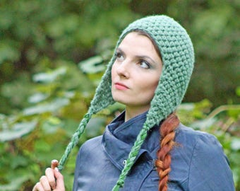 Sage Green EarFlap Hat Handmade By Crochet Nice Gift Idea For Him or Her