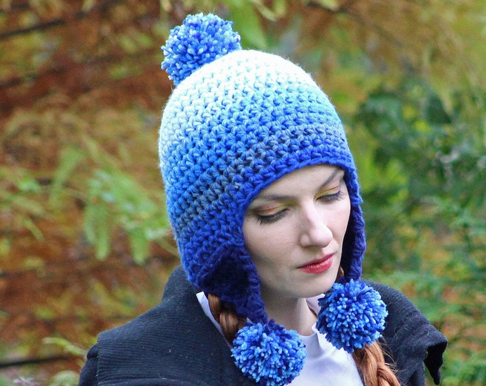 Blue Ombre Elf Earflap Hat Pom Pom Beanie Hat Crochet Handmade Gift for Him or Her