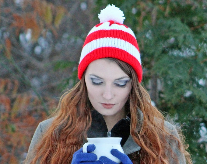 Peppermint Cap Waldo Beanie Hat Red and White Striped Pom Pom Winter Christmas Gift Ready to Ship