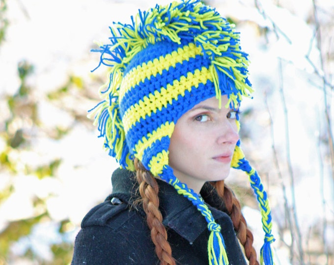 Blue and Yellow Stripe Mohawk HatWarm Winter Accessory Earflap style for Men, Women Children or Teens Gift Handmade Christmas Ready to ship
