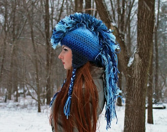 Blue Ombre Mohawk Hat Extreme Style boyfriend gift Warm Winter Trapper Girlfriend Present
