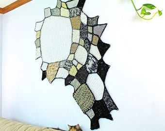 Fiber Art Home Decor Black and White Ombre Patch Asymmetrical Tapestry Wall Hanging Tissage Mural Textile Craft Crochet Knit Weave