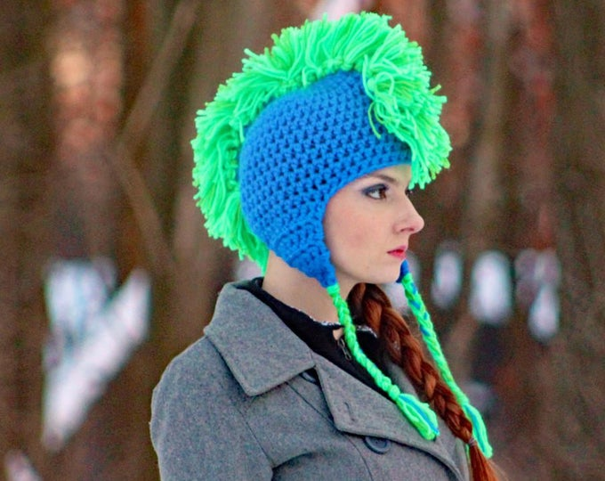 Blue with Bright Green Mohawk Ear Flap Hat Great Gift
