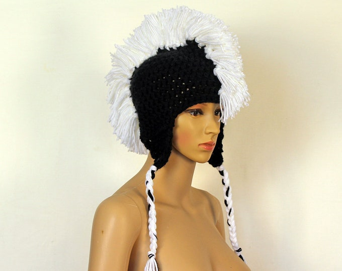 Black Earflap Hat with White Mohawk Handmade Gift Stocking Stuffer Gift for Boys and Girls Women and Men