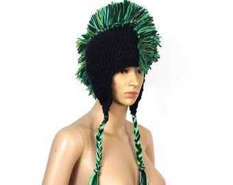 Green and Black Mohawk  Ear Flap Hat Handmade Christmas One of a Kind Gift Ready to ship