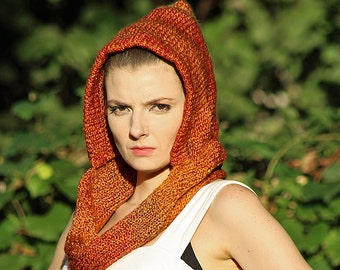 Orange and Rust Hooded Infinty Scarf Mobius Skood Handmade Knit Cowl Great Gift for Men or Women