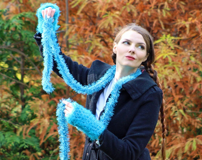 Sparkly Teal Blue Fingerless Gloves and Skinny Scarf  Set Long Soft Accesory  Gift for Girls, Teens or Women