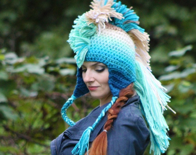 Mermaid Blue Teal and Beige Mohawk Hat Earthy Spirit Lake Inspired Tones Ombre EarFlap Inspired by the water of Devil's Lake color Gradient