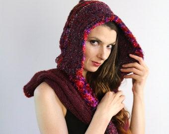 Maroon Hooded Scarf  Red Skood Handmade Knit One of a Kind Girlfriend Gift