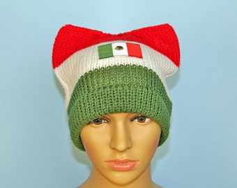Mexican Flag Pussy Hat! Cat Kitten Ear Hat Gift Women's Rights March on Washington Protest Resist Trump Anti War White Red Green Toque