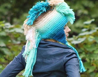 Mermaid Mohawk Blue Teal and Beige  Hat Earthy Spirit Lake Inspired Tones Ombre EarFlap Inspired by the water of Devil's Lake color Gradient