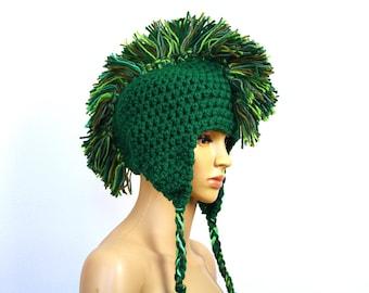 Green Mohawk Ear Flap Warm Ski Hat Handmade Crochet Gift Statement Knits