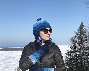 Blue Pom Earflap Hat Ombre Beanie Hat Crochet Handmade Gift for Him or Her Boyfriend Gift