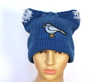 Birdy (Bernie) Sanders Pussy Hat Cat Kitten Knit  Winter Protest Cap Ear Slouchy Toque Women's Rights March  feel the bern Impeachment