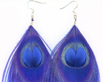 Blue Peacock Feather Earrings Boho Chic Jewelry Ready to ship Gift