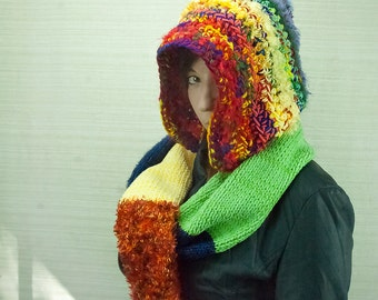 Rainbow Hooded Scarf  Chunky Snood Skood Handmade Christmas Gift Ready to Ship Girlfriend Gift