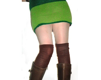 Thigh High Knit Legwarmers Chocolate Brown Handmade Christmas Gift Ready to ship