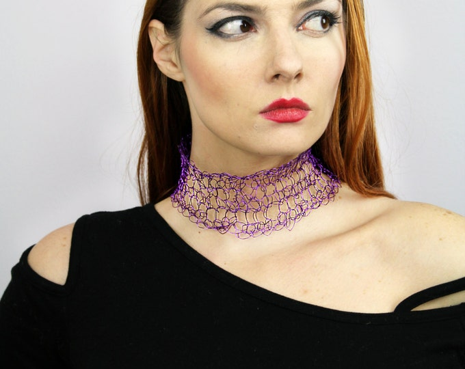 Purple Collar Choker Necklace of Crochet Wire