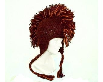 Brown Mohawk  Earflap Hat Boyfriend Gift