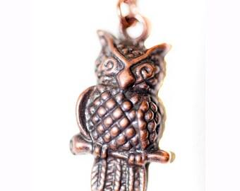 Little Copper Owl Charm Necklace