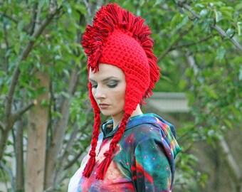 Red Mohawk Hat Crochet Ear Flap Handmade Unisex Gift For Her Or Him Raver Punk Rock Beanie Novelty Cap