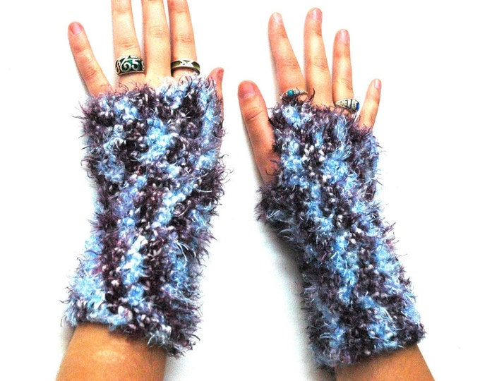 Fingerless Gloves Purple and Blue Handmade Christmas Gift Ready to Ship
