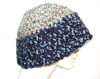 Tan and Navy Beanie  Slouch Hat